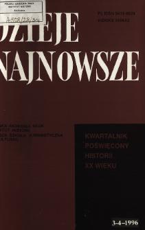Dzieje Najnowsze : [kwartalnik poświęcony historii XX wieku] R. 28 z. 3-4 (1996), Przegląd badań