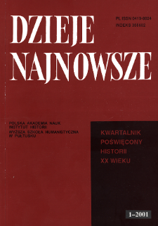 Dzieje Najnowsze : [kwartalnik poświęcony historii XX wieku] R. 33 z. 1 (2001), Artykuły recenzyjne i recenzje