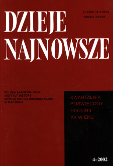Dzieje Najnowsze : [kwartalnik poświęcony historii XX wieku] R. 34 z. 4 (2002), Autoreferaty