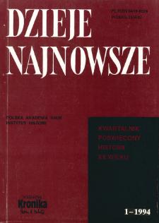 Dzieje Najnowsze : [kwartalnik poświęcony historii XX wieku] R. 26 z. 1 (1994), Przegląd badań