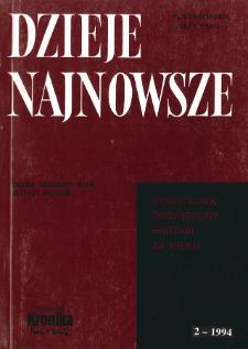 Dzieje Najnowsze : [kwartalnik poświęcony historii XX wieku] R. 26 z. 2 (1994)