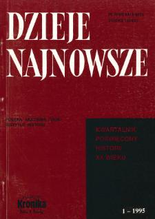 Dzieje Najnowsze : [kwartalnik poświęcony historii XX wieku] R. 27 z. 1 (1995)