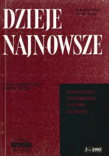 Dzieje Najnowsze : [kwartalnik poświęcony historii XX wieku] R. 27 z. 3 (1995), Materiały