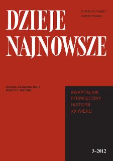 Dzieje Najnowsze : [kwartalnik poświęcony historii XX wieku] R. 44 z. 3 (2012)