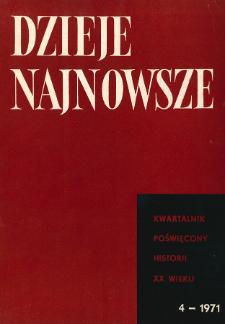 Dzieje Najnowsze : [kwartalnik poświęcony historii XX wieku] R. 3 z. 4 (1971), Artykuły recenzyjne i recenzje