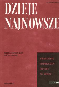 Dzieje Najnowsze : [kwartalnik poświęcony historii XX wieku] R. 18 z. 1 (1986), Przeglądy badań