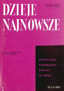 Dzieje Najnowsze : [kwartalnik poświęcony historii XX wieku] R. 24 z. 1-2 (1992)