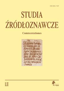 Studia Źródłoznawcze = Commentationes T. 52 (2014), Artykuły recenzyjne