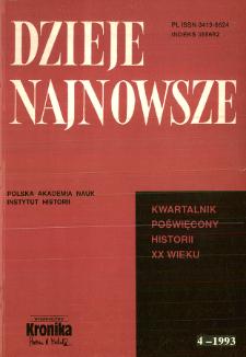 Dzieje Najnowsze : [kwartalnik poświęcony historii XX wieku] R. 25 z. 4 (1993)