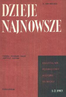 Dzieje Najnowsze : [kwartalnik poświęcony historii XX wieku] R. 15 z. 1-2 (1983), Przeglady badań