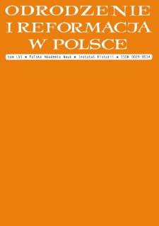 Odrodzenie i Reformacja w Polsce T. 56 (2012), Artykuły i rozprawy
