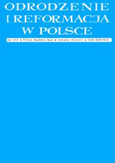 Odrodzenie i Reformacja w Polsce T. 57 (2013), Artykuły