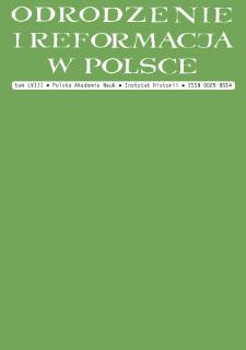 Odrodzenie i Reformacja w Polsce T. 58 (2014), Materiały