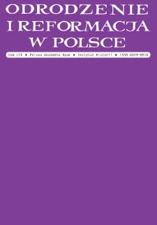 Odrodzenie i Reformacja w Polsce T. 59 (2015), Artykuły