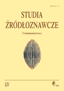 Studia Źródłoznawcze = Commentationes T. 54 (2016), Rozprawy
