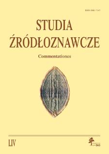 Studia Źródłoznawcze = Commentationes T. 54 (2016), Artykuły recenzyjne i recenzje
