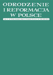 Odrodzenie i Reformacja w Polsce T. 60 (2016), Materiały