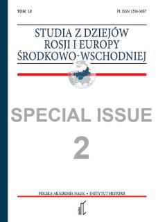 Studia z Dziejów Rosji i Europy Środkowo-Wschodniej Vol. 51 no 2 (2016), Special Issue, Materials