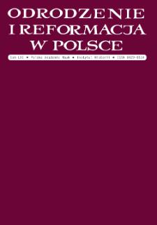 Odrodzenie i Reformacja w Polsce T. 61 (2017), Artykuły