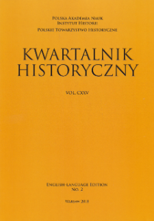Kwartalnik Historyczny, Vol. 125 (2018) English-Language Edition No. 2