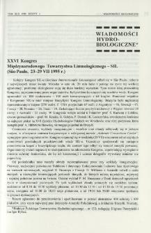 XXVI Kongres Międzynarodowego Towarzystwa Limnologicznego - SIL (São Paulo, 23-29 VII 1995 r.)