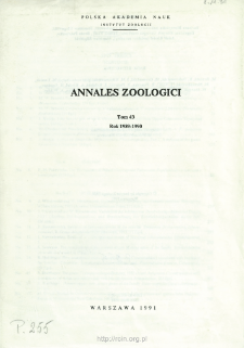 Annales Zoologici - Strony tytułowe, spis treści - t. 43 (1989-1990)